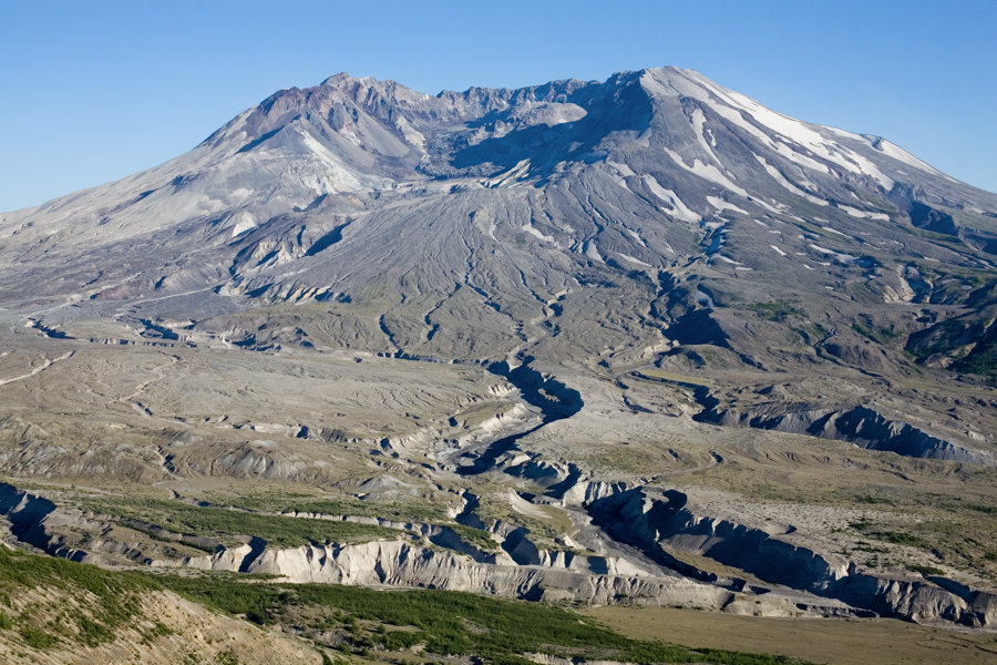 Mt St Helens and pumice fields as seen from the Johnston Ridge Observatory